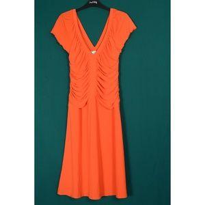 Joseph Ribkoff Dresses - Joseph Ribkoff dress SZ 12 bright orange ruched V